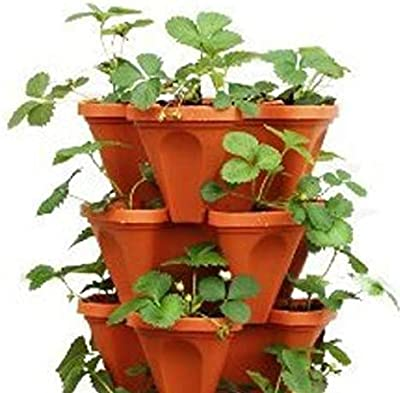 BIO Blooms Agro India Pvt LtdTOWER Garden POTS (4 Sides) - Pack of 3 PCS Stack A Pot, UV Treated PLANTERS (Colours My Vary - only pots - no Plants no Soil) Bio_32b