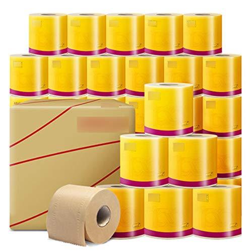 Aiyu 27 Rollen Van Natuurlijke Kleur Rolpapier, Ongebleekte Bamboe Pulp Roll Papier Handdoek, Huishoudelijk Toiletpapier, 3-laags Toiletpapier, Geschikt voor Kantoor Of Thuis Gebruik