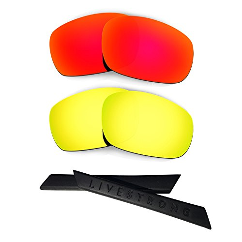 HKUCO Red/24K Gold Polarized Replacement Lenses Plus Black Earsocks Rubber Kit for Oakley Racing Jacket