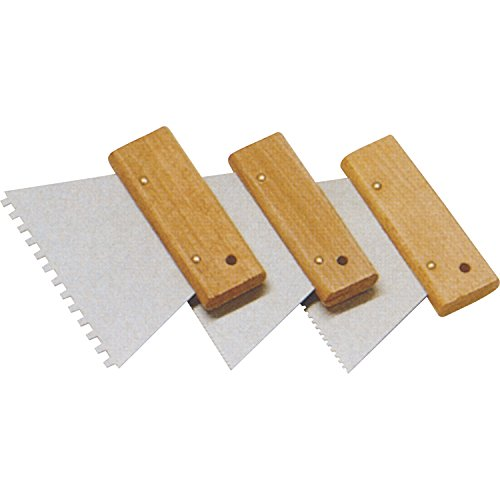 SCHULLER Zahnspachtel mit Holzgriffleiste, breite 180 mm, Trapezzahnung 2,9 mm, 1 Stück, 50382