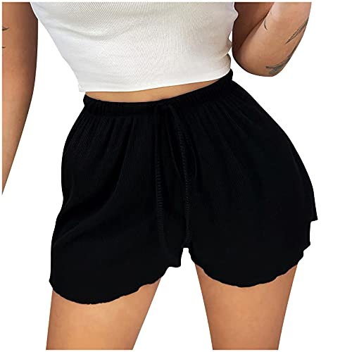 VESNIBA LLC Solid Color Pants Spring Polyester Gym Home Home Outdoor Stretchy Autumn Short Pants Polyester (Black, M)