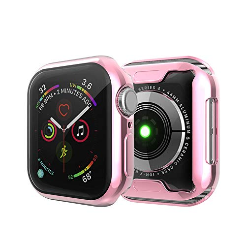 Herrlich - Funda de TPU para Apple Watch con protector de pantalla Series 6/5/4/3/2/1 de 40 mm, 44 mm, funda protectora HD ultrafina (1 unidad) (40 mm, rosa).