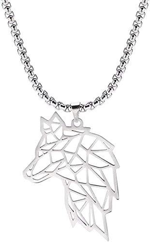 LBBYLFFF Collar Lobo Animal Collar 316L Acero Inoxidable Bosque Hombres Collar Hueco Recortado Colgante joyería Regalo Mujeres Lobo-Plata Colgante Collar para Mujeres Hombres Collar
