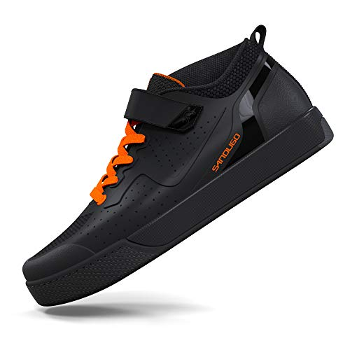 Cycling Shoes for Men Mountain Bike MTB Cycle Shoes,Suitable Mountain Biking Downhill Enduro Indoor Exercise Bike, Compatible with Peloton Shimano SPD 2 Bolts Pedals Size:UK10 Black Orange
