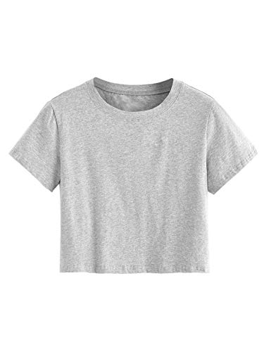 SweatyRocks Women's Casual Short Sleeve Crew Neck Basic Crop Top T Shirts Grey L