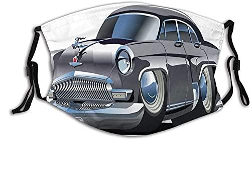 Modische 2-lagige waschbare Schutzabdeckung, wiederverwendbare Maske, Retro-inspiriertes Auto-Design mit asymmetrischen Reifen, schnelle Autogeschwindigkeit, cooles Logo, mit Filter