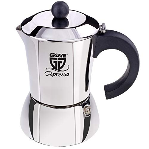 GRÄWE Espressokocher Induktion geeignet, Espressokanne aus Edelstahl für 10 Tassen, Klassischer Espresso Maker ohne Aluminium - 500 ml