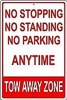 警告錫標識止まりません駐車場を離れてゾーン金属標識通知安全セキュリティサイン通り装飾