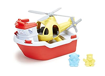 Green Toys Rescue Boat with Helicopter Red, 1 EA by Green Toys