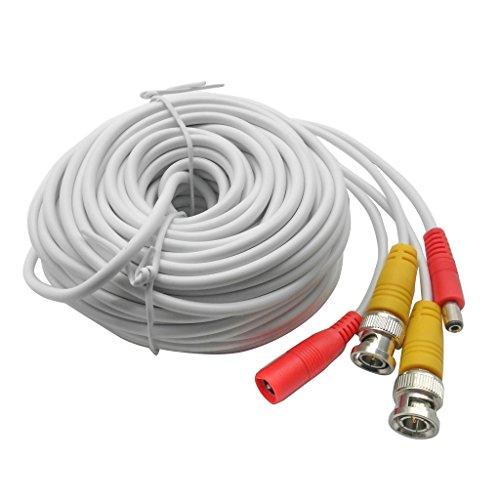 20M 65ft. White, Pre-Made All-in-one BNC Video and Power Cable Wire with Connector DC 2.1mm for CCTV Surveillance Security Camera