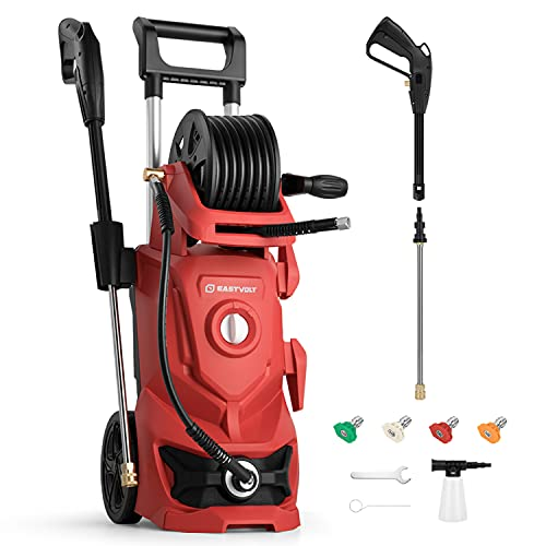 powertec pressure washers Eastvolt Electric Pressure Washer, 2.4GPM Power Washer Machine 1800W High Pressure Cleaner with 4 Interchangeable Nozzle, Hose Reel and Brush for Cars/Garden/Deck Cleaning, Red