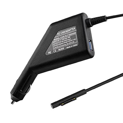 xllLU Protable Surface Car Charger DC 15V 4A Fuente de alimentación con QC3.0 puerto de carga USB para Surface Laptop (cable de 55 pulgadas) cargador de coche de superficie