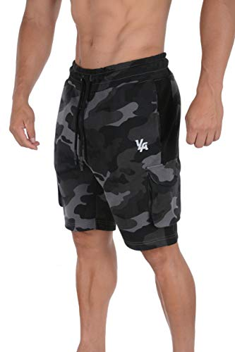 YoungLA Mens Cargo Gym Shorts Casual Workout Athletic Pockets 118 CBLK XL Camo Black