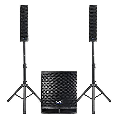 "Seismic Audio - Apex-12D - Column Line Array Speaker System - 1600 Watt 12"" Active Subwoofer and 4x4 Column Speakers"