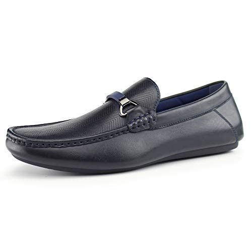 Hawkwell Men's Casual Slip-on Loafer Dress Shoes Moccasin Driving Shoes,Navy Synthetic,11 M US