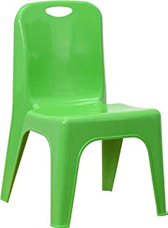 Flash Furniture Green Plastic Stackable School Chair with Carrying Handle and 11'' Seat Height