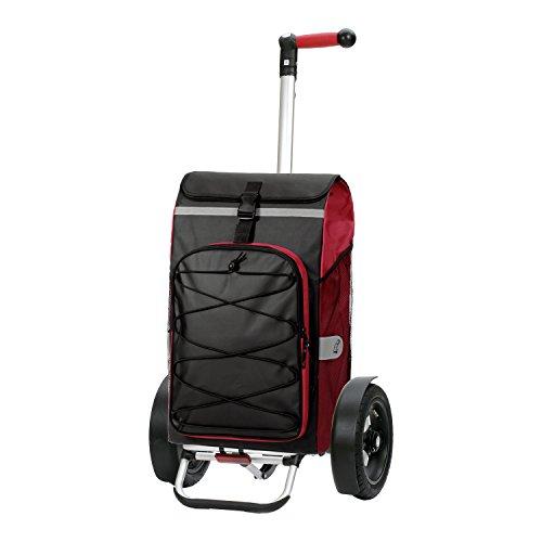 Andersen Shopper Tura mit kugelgelagertem Luftrad 29 cm und 72 Liter Tasche Fado rot mit integriertem Kühlfach und Regencape