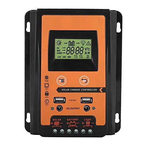 Vikenar Controlador de Carga Solar de 12V / 24V 30A MPPT Regulador de batería de Panel Solar Dual USB LCD Pantalla