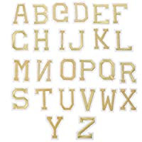 EXCEART 2セット26アルファベットパッチアップリケアイロン転写刺繍パッチ縫製衣類ステッカー装飾用diyクラフトジーンズジャケットバックパック装飾ゴールデン