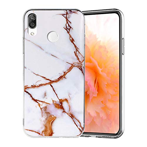Misstars Coque en Silicone pour Huawei P20 Lite Marbre, Ultra Mince TPU Souple Flexible Housse Etui de Protection Anti-Choc Anti-Rayures pour Huawei P20 Lite, Blanc Or