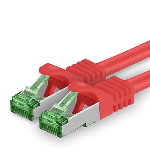 1aTTack.de Cat.7-netwerkkabel 5 m - rood - 1 stuk - Cat7 Ethernet-kabelnetwerk Lan-kabel ruwe kabel 10 Gb s S-FTP PIMF-set patchkabel met Rj 45-connector Cat.6a