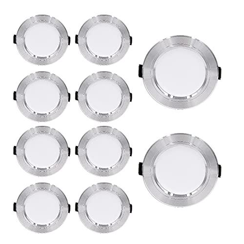 10 Paquete LED Empotrado Techo Luz LED Downlights AC220V LED Luz de Luz Iluminación Interior 5W / 9W / 12W / 15W / 18W (Color : Silver, Size : Warm White 15W)