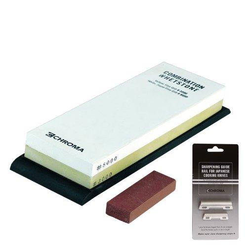 Chroma Messer - Schleifsteine und Schärfgeräte - Set HIGH END Kombi Schleifstein + Schleifhilfeset - Körnung 3000/8000 - ST-3-8+