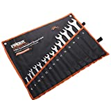 FINDER BS192187D Combination Wrench Set, Open and Box End Metric Spanner Set, 8mm-24mm, Set of 14pcs
