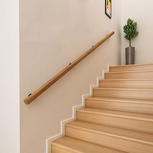 YUDE-3ft Pine Stair Handrail, Solid Wood Non-Slip Safety Railing, Wrought Iron Base, Suitable for Stairs, Attic (Size Can Be Customized)