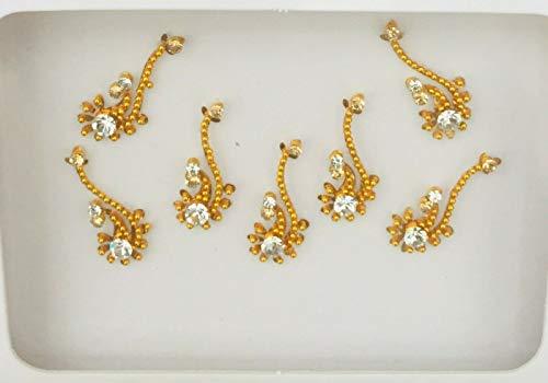 BBZ139 Goldsplitter Bindi Stein Diamante Stirn Aufkleber Hochzeit Fancy Tikka Indian Tattoos Partei-Gesichts Gem Body Art