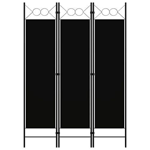 vidaXL Biombo Divisor de 3 Paneles de Pie Plegable Separador Habitación Dormitorio Estancia Decoración Partición Privacidad Negro 120x180 cm