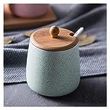 Adecuado para Utensilios de Cocina Conjuntos de cerámica Caja de condimentos de la Olla con Tapa para Enviar Cuchara Sacador de Sal Azúcar Pimienta Spray Spray Cocina Herramientas de Cocina
