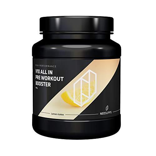 Pre-Workout Fitness Booster für Muskelaufbau & maximalen Pump | Bodybuilding & Trainingsbooster mit Beta Alanin, Kreatin und Koffein für mehr Leistung, Fokus | Neosupps V10 Booster – Lemon Eistee