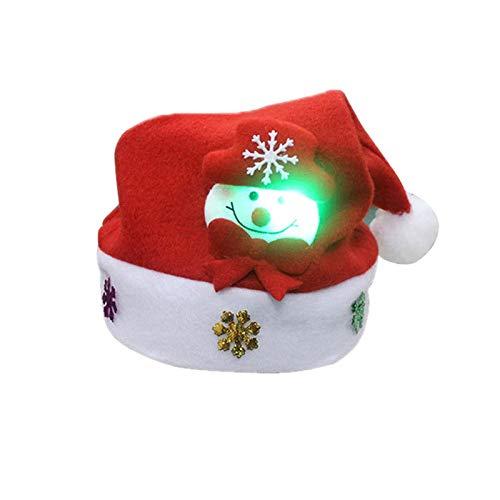 Hihey Kerstmuts, led, kersthoofdband, haarband, knuffelzacht en aangenaam om te dragen, voor kinderen en volwassenen Kinder Leuchtender Schneemann