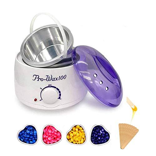 Calentador depilatorio Cera caliente 4 bolsas cera perla kit de calentador de cera bote depilatoria Profesional 500ml(Morado*4bolsa)