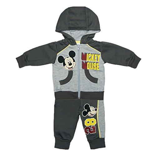Kleines Kleid Jungen Mickey Mouse SPORT-ANZUG GEFÜTTERT zweiteilig, Sweat-Jacke mit Kapuze und langer Hose, GRÖSSE 62, 68, 74, 80, 86, 92, 98, 104, Jogging-Anzug mit Hoodie, Freizeit-Anzug grau Size 62