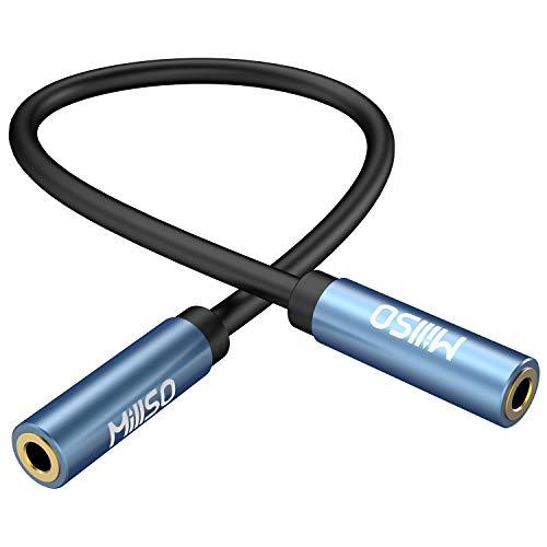 MillSO Audio Kupplung 3.5mm Buchse auf 3.5mm Buchse TRS Premium Stereo vergoldete Audio Buchse AUX Kabel für Kopfhörer, Autoradio oder Heim-HiFi-Stereo-Soundsystem- 15 cm