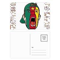 カメルーンフラグの顔のを叫んでいるキャップ 公式ポストカードセットサンクスカード郵送側20個