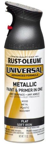 Rust-Oleum 271473 Universal All Surface Spray Paint, 11 oz, Metallic, 11 Fl Oz (Pack of 1), Flat Soft Iron