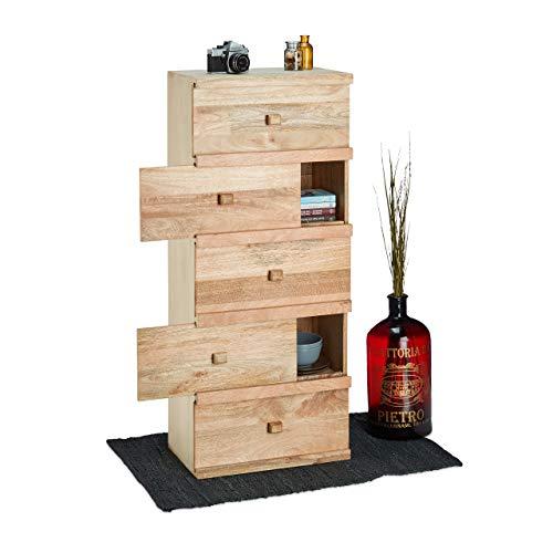 Native Home Commode 5 étages Armoire Table de Chevet Bois de manguier Design Buffet HxlxP: 120 x 50 x 30 cm, Brun