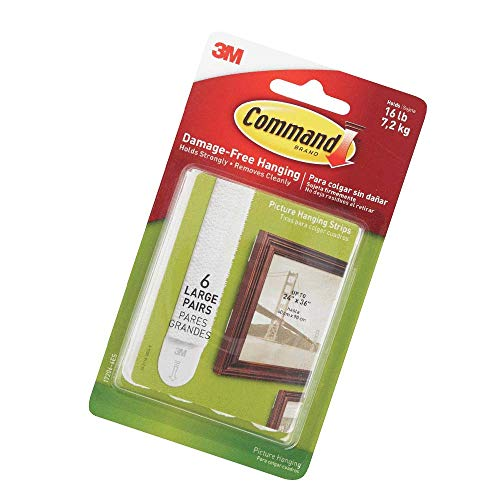 Command 16 lb Large White Picture Hanging Strips, 6 pairs (12 strips), Indoor Use, Decorate Damage-Free (17206-6ES)
