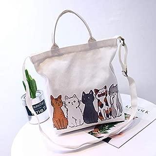 Gimax Shoulder Bags - Mara's Dream Cartoon Cat Printed Shoulder Bag Ladies Large Capacity Female Shopping Bag Canvas Handbag Summer Beach Bag Girls - (Color: B Pattern 2, Size: 34 x 6 x 37 cm)
