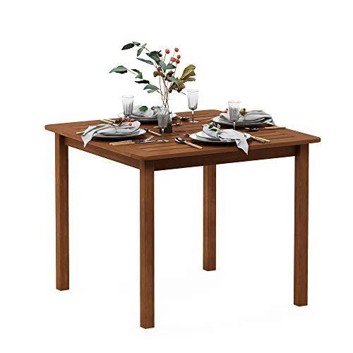 Furinno FG18006 Tioman Hardwood Patio Furniture Square Table with Umbrella Hole, Natural
