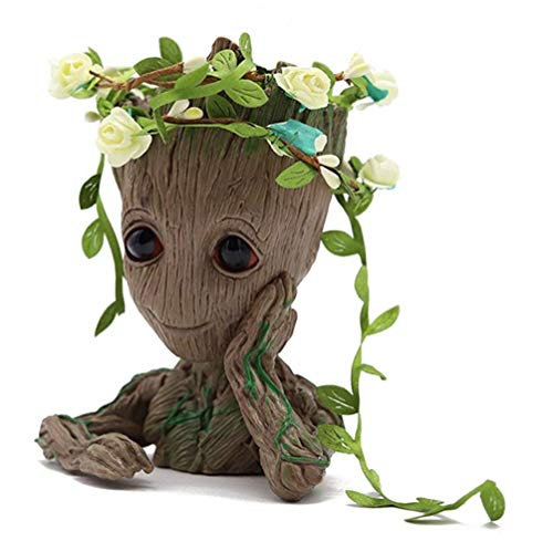 Yidoo Bonsai Tree Pot Baby Groot Succulent Pot - Cactus Pot- Pen Holder- Make up Brush Holder and Extremely Detailed -Durable Resin- Won't Loose Color Due to Rain, Snow, Sun