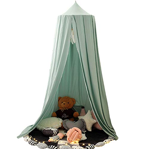 Namgiy Baby Baldachin Betthimmel Chiffon Hängende Rund Moskitonetz für Babys Bett, Spielzelte, Kinderzimmer Höhe 240 cm Saumlänge 260cm (Hellgrün)