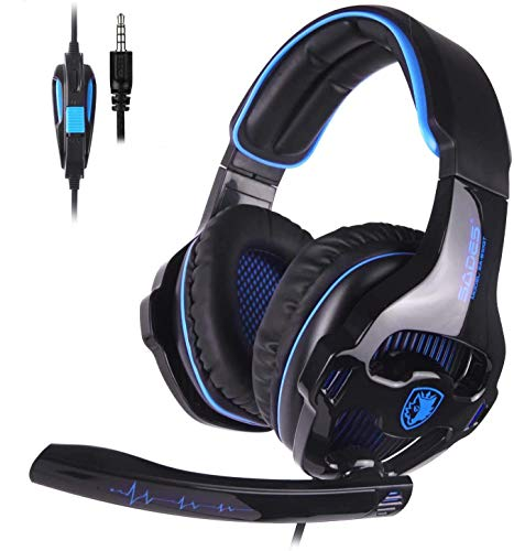 Sades SA810 PS4 Gaming Kopfhörer Headset mit Mikrofon Lautstärkenregelung 3.5mm On Ear Stereo Audio Surround Sound Ohrhörer für PS4/ Xbox One/PC/Mac/Laptop/Tablet/Smartphone(Schwarz)