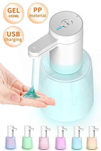 Auckly Gel Seifenspender Automatisch Mit Sensor Infrarot PP Flasche Hände Desinfektionsspender Berührungslos Desinfektion Mittel Spender USB-Aufladung IPX7 Waterproof 450ml.Für Küchen Und Badezimmer