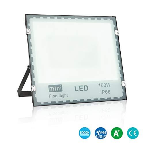 ledmo® Led strahler aussen Blendfreies Flutlicht Kaltweiß 100W,Super Hell 8400LM, LED Außenstrahler Flood Light IP66 wasserdicht