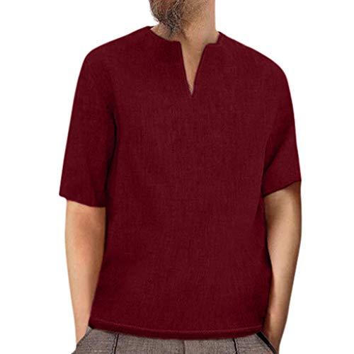 AmyGline T Shirt Herren Leinenhemd Kurzarm V Ausschnitt Button Down Vintage Einfarbig Bluse Top Baumwolle Leinen Shirt Männer Henley Freizeithemd Sommer Hemd