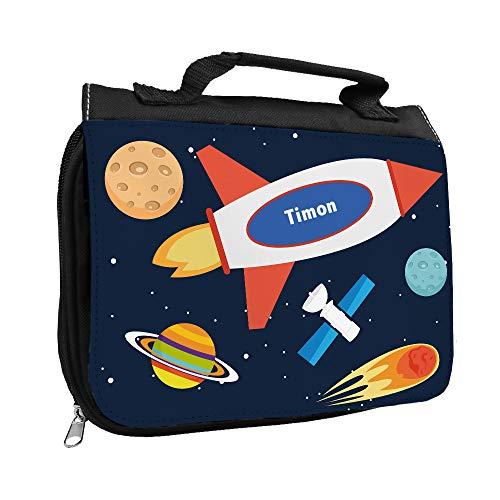 Kulturbeutel mit Namen Timon und Weltraum-Motiv mit Rakete und Planeten für Jungen | Kulturtasche mit Vornamen | Waschtasche für Kinder